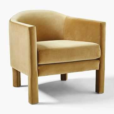 Isabella Upholstered Chair, Poly, Astor Velvet, Saffron - West Elm