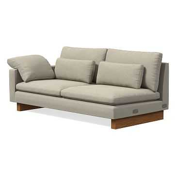 Harmony Left Arm Sofa, Performance Velvet, Stone - West Elm
