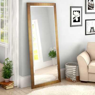 """71"""" x 30.5"""" Matte Gold Apostol Slender Body Floor Beveled Full Length Mirror - Wayfair"""