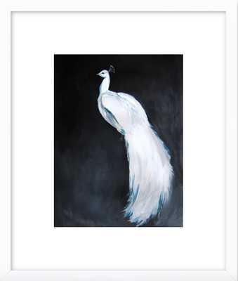 "White Peacock II- 11"" x 14"" white wood frame - Artfully Walls"