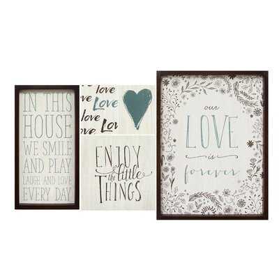 'Love Is Forever' 5 Piece Framed Textual Art Set - Wayfair