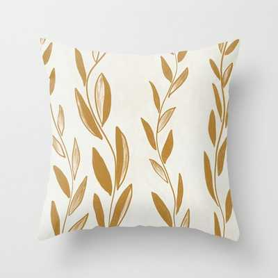 Golden leaves and stems Throw Pillow - Society6