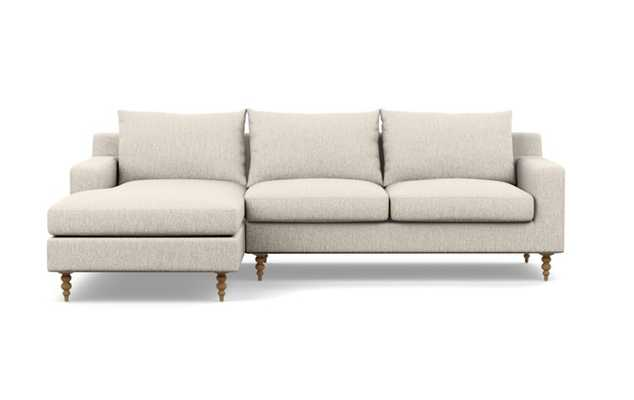 SLOAN Sectional Sofa with Left Chaise-Wheat Cross Weave-Tapered Turned Wood Natural - Interior Define