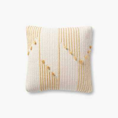 P1156 MH Ivory / Gold Pillow - Magnolia Home by Joana Gaines Crafted by Loloi Rugs