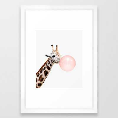Giraffe, Bubble gum, Pink, Animal, Nursery, Minimal, Trendy decor, Interior, Wall art Framed Art Print - Society6