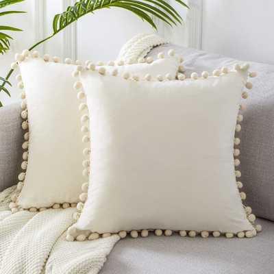 Velvet pom pom Throw pillow set - 20 x 20 - Cream color - Amazon