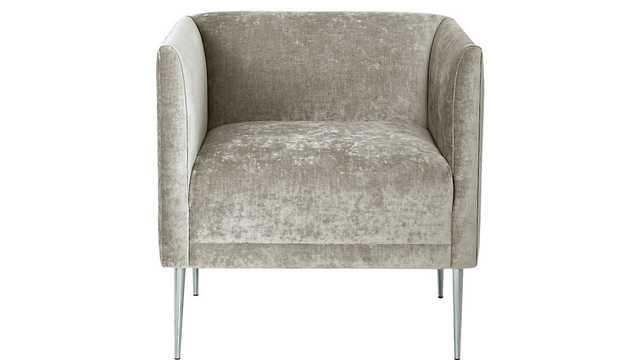 marais shadow grey velvet armchair with chrome legs - CB2