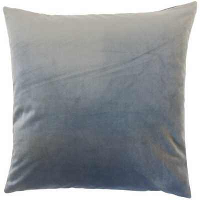 "Classic Velvet Pillow, Steel, 22"" x 22"" - Havenly Essentials"