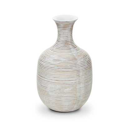"GROOVED WIDE WHITE VASE - 9.5"" - Mitchell Gold + Bob Williams"