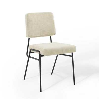 CRAFT UPHOLSTERED FABRIC DINING SIDE CHAIR IN BLACK BEIGE - Modway Furniture