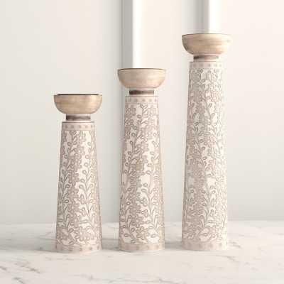 Rustic Cylindrical Flourish-Designed 3 Piece Wood Tabletop Candlestick Set - Wayfair