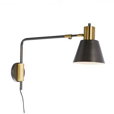west elm + Rejuvenation Cylinder Sconce, Adjustable, Black, Antique Brass, Set of 2 - West Elm