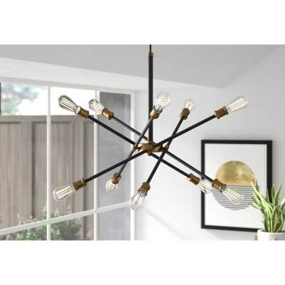 Everett 10-Light Sputnik Modern Linear Chandelier black/brass - AllModern