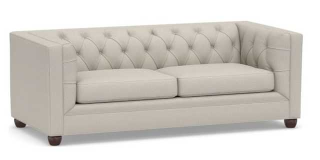 "Chesterfield Square Arm Upholstered Sofa 88"" Polyester Wrapped Cushions, Performance Heathered Tweed Pebble - Pottery Barn"