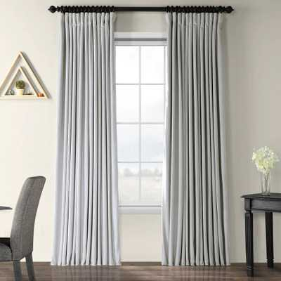 Exclusive Fabrics Signature Wide Width Blackout Velvet Curtain Panel - 100 x 108 - Reflection Grey - Overstock