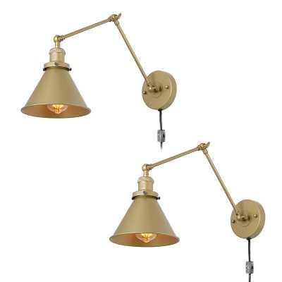 Glenwood 1-Light Plug-In Armed Sconce - Set of 2 - Wayfair