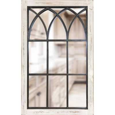 37.5 in. x 24 in. Rectangle White Vista Arched Window Mirror - Home Depot
