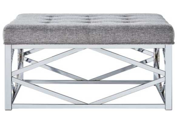 Fontaine Chrome Dimple Tufted Geometric Cocktail Ottoman - Inspire Q - Target
