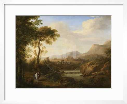 Classical River Landscape with Cattle and Figures - art.com