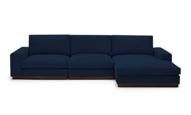 Blue Holt Mid Century Modern Modular Sectional - Royale Cobalt - Mocha - Left - Joybird