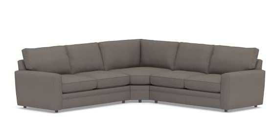Pearce Square Arm Upholstered 3-Piece L-Shaped Wedge Sectional, Down Blend Wrapped Cushions, Performance Everydaysuede(TM) Metal Gray - Pottery Barn