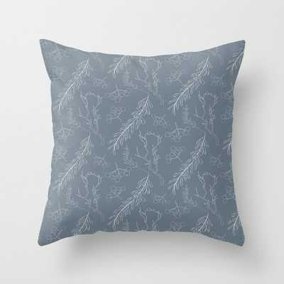 Blue gray white hand painted winter floral berries Throw Pillow - Society6
