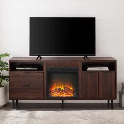 """Eglinton TV Stand for TVs up to 65"""" with Electric Fireplace Included - Wayfair"""