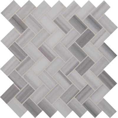 MSI Bergamo Herringbone 12 in. x 12 in. x 10mm Polished Marble Mesh-Mounted Mosaic Tile (10 sq. ft. / case) - Home Depot