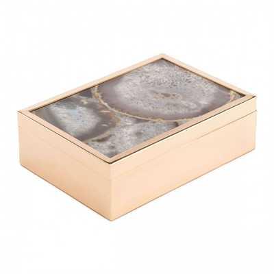 White Stone Box Lg White - Zuri Studios