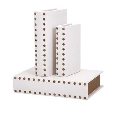 Essentials Faux Leather Celebrations Book Boxes (Set of 3) - Home Depot