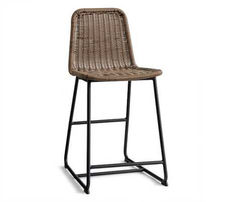 Plymouth Counter Height Barstool, Woven/Metal - Pottery Barn