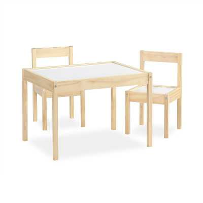 Ramona Kids 3 Piece Play Table and Chair Set - Natural - Wayfair