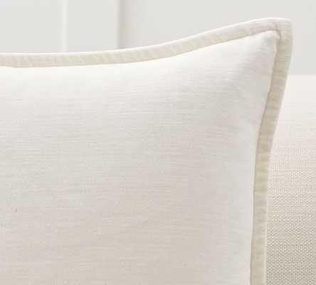 "Washed Velvet Pillow Cover, 20"", Ivory - Pottery Barn"