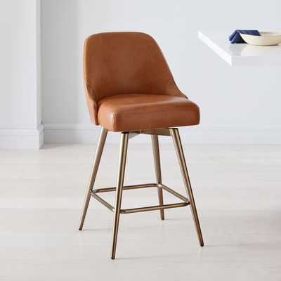Mid-Century Leather Counter Stool, Saddle, Oil Rubbed Bronze - West Elm