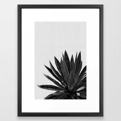 Agave Cactus Black & White Framed Art Print - Vector Black Frame - Society6