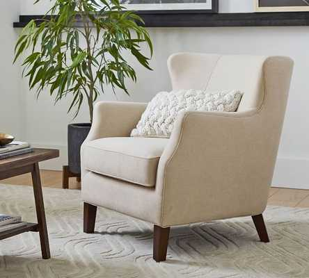 SoMa Willow Upholstered Armchair, Polyester Wrapped Cushions, Brushed Crossweave Natural - Pottery Barn