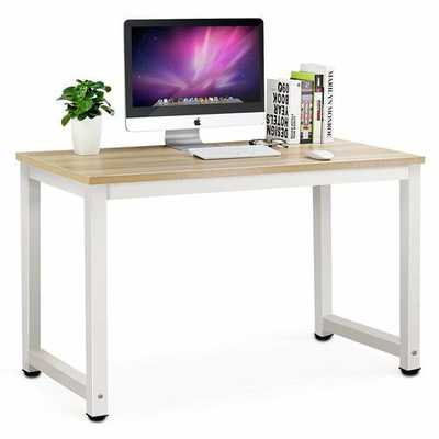 "Capson Writing Desk - White/Walnut 55"" - Wayfair"