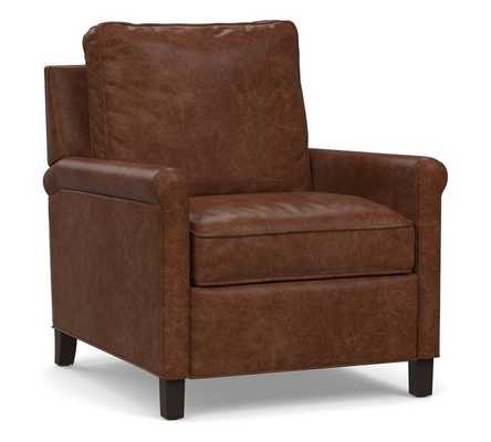 Tyler Roll Arm Leather Power Recliner without Nailheads, Down Blend Wrapped Cushions, Statesville Molasses - Pottery Barn