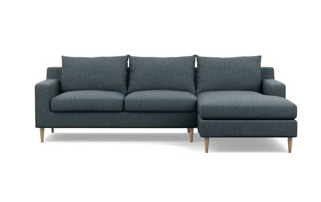 SLOAN Sectional Sofa with Right Chaise - Rain Oak Tapered Round Leg with Bench Cushion - Interior Define