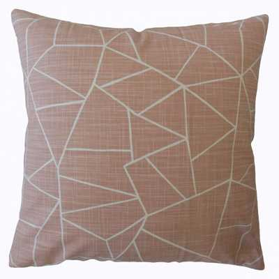 "Uheri Geometric Pillow Blush, 18"" x 18"" - Poly Insert - Linen & Seam"