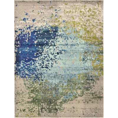 Hayes Abstract Blue/Green Area Rug 9x12 - Wayfair