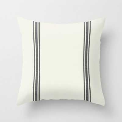Vintage Country French Grainsack Grey Gray Stripes Cream Background Throw Pillow - Society6