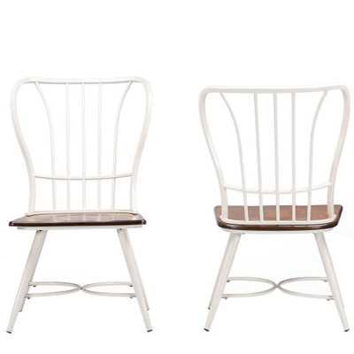 Elfrida White Metal Dining Chairs (Set of 2) - Home Depot