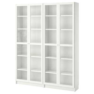 BILLY / OXBERG Bookcase, white, glass - Ikea