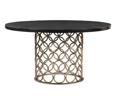 Harlow Brass Round Dining Table - Maren Home