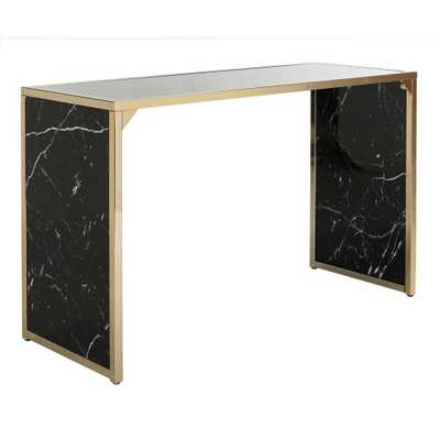 Kylie Black/Brass Console Table - Home Depot