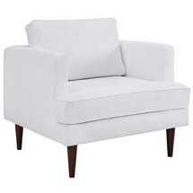 AGILE UPHOLSTERED FABRIC ARMCHAIR IN WHITE - Modway Furniture