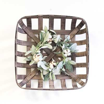Tobacco Basket with Lambs Ear Wreath Wall Décor - Wayfair