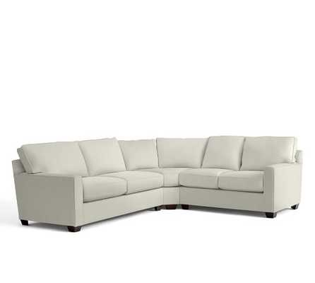 *CUSTOM* Buchanan Square Arm Upholstered Curved 3-Piece L-Shaped Sectional With Wedge - Pottery Barn