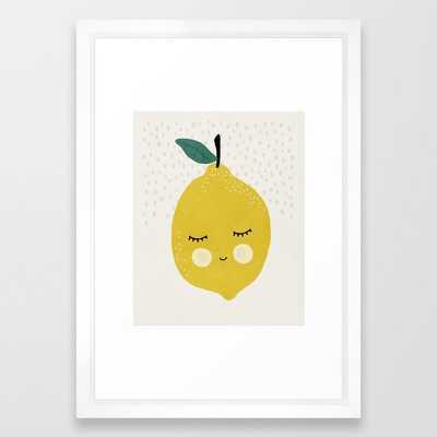 Lemon, Mid century modern kids wall art, Nursery room Framed Art Print - Society6